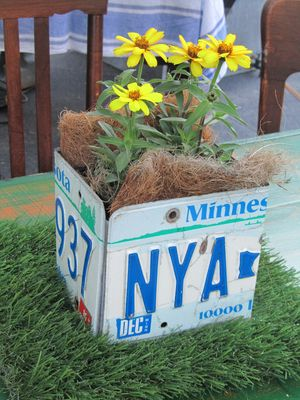 Repurposed License Plates Plant Pot